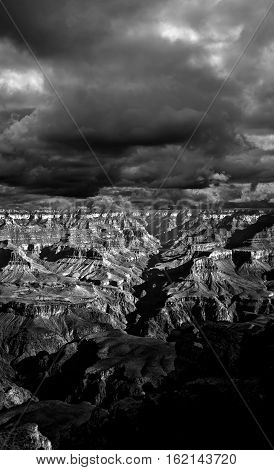 Black and white late afternoon in the Grand Canyon Arizona
