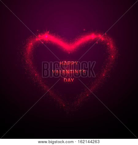 Vector illustration of stylish valentines day greeting poster with shine glow pink heart silhouette with tails, like meteor, isolated on purple background