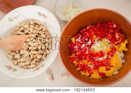 ingredients for pie or doner, tortilla in dishes