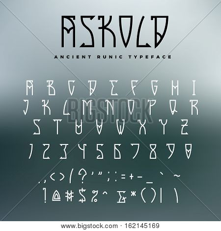 Celtic or runic typeface with uppercase letters, numbers and additional symbols. Slub serif font perfect for headers, games or metal albums.