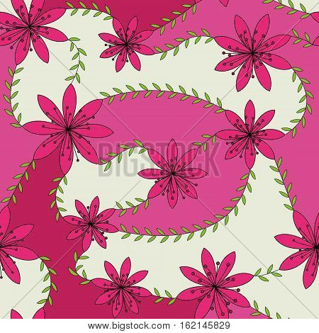Vector pink flowers with stamens pattern colorful