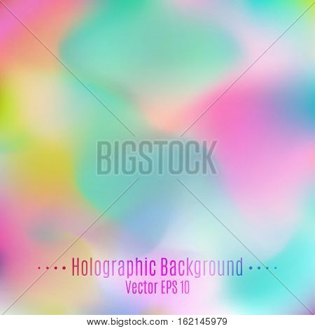 Vector Blurred Holographic Background. Abstract Opal Pastel Multicolored Smooth Texture for Design.
