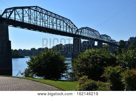 Walnut Street Bridge in Chattanooga, Tennessee, in the USA