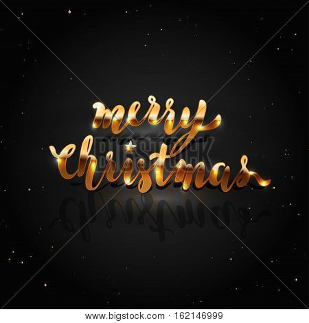 Merry Christmas Golden Lettering on Dark Background. Holiday Greeting or Invitation Card Template.