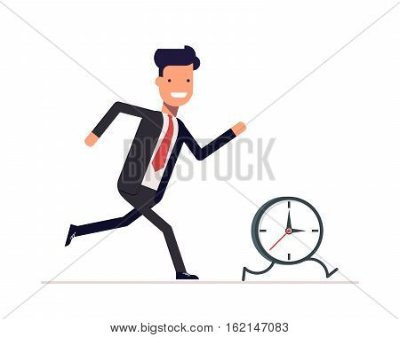 Businessman or manager runs the clock. A man does not keep pace with the times. Trying to catch up with the missed opportunities. Vector, illustration EPS10