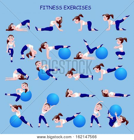 Fitness exercises with cartoon girl in blue and white suit
