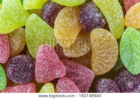 a lot of sugar colorful gummy fruits confectionery