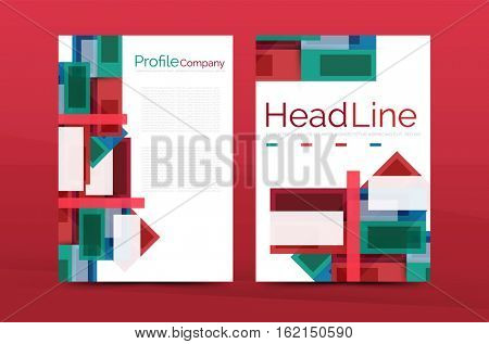 Straight lines geometric business report templates. abstract background set