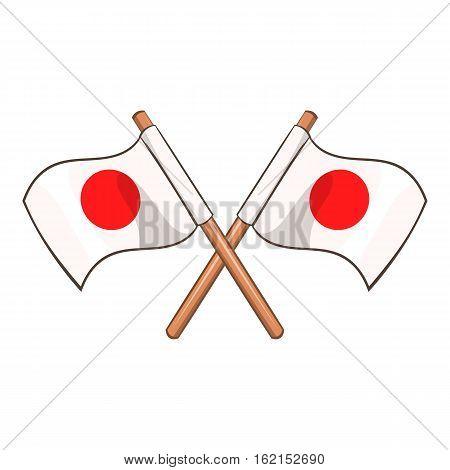 Crossed flags of Japan icon. Cartoon illustration of crossed flags of Japan vector icon for web
