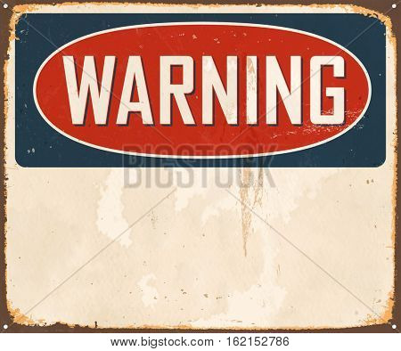 Vintage Warning metal sign with room for text or graphics. Vector EPS 10.
