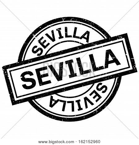 Sevilla rubber stamp. Grunge design with dust scratches. Effects can be easily removed for a clean, crisp look. Color is easily changed.