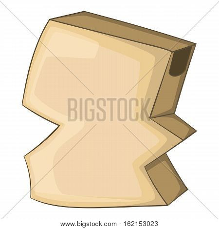 Crumpled empty cardboard box icon. Cartoon illustration of crumpled empty cardboard box vector icon for web