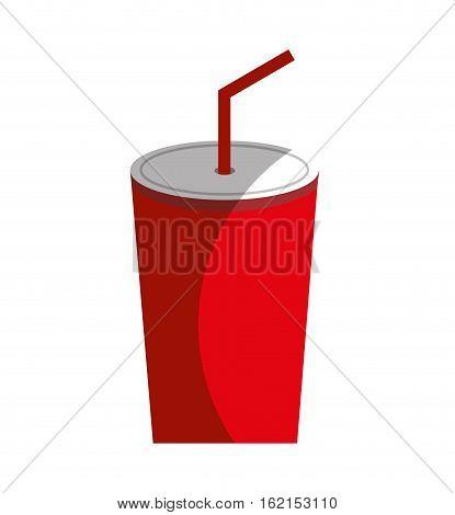 soda glass with straw icon vector illustration design
