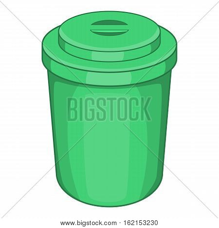 Green plastic cup icon. Cartoon illustration of plastic cup vector icon for web