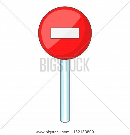 No entry traffic sign icon. Cartoon illustration of no entry traffic sign vector icon for web