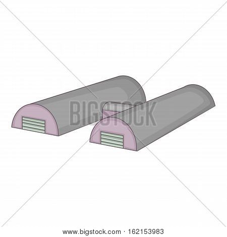 Two hangars icon. Cartoon illustration of two hangars vector icon for web