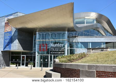 CHATTANOOGA, TN - OCT 5: Hunter Museum of American Art in Chattanooga, Tennessee, as seen on Oct 5, 2016. The museum includes the most complete collection of American art in the Southeast.