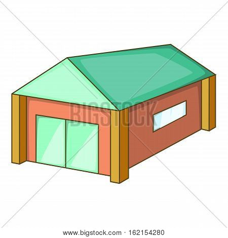 Garage with a green roof icon. Cartoon illustration of garage with a green roof vector icon for web
