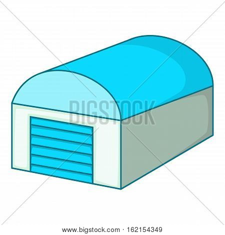 Hangar with a semicircular blue roof icon. Cartoon illustration of hangar with a semicircular blue roof vector icon for web