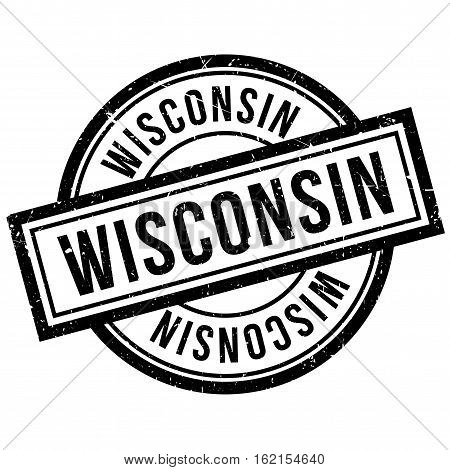 Wisconsin rubber stamp. Grunge design with dust scratches. Effects can be easily removed for a clean, crisp look. Color is easily changed.