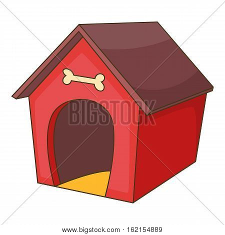 Red dog house icon. Cartoon illustration of dog house vector icon for web