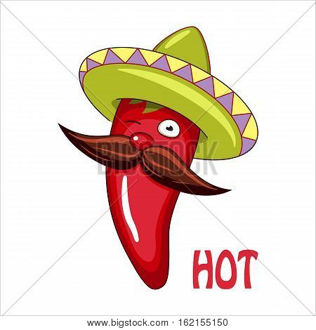Funny animated chili pepper in bright sombrero. Vector illustration.