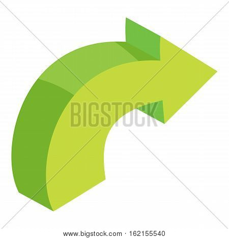 Green curved right arrow icon. Cartoon illustration of green curved right arrow vector icon for web