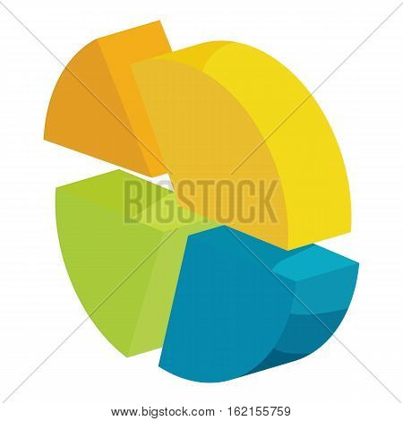 Circle divided into four parts icon. Cartoon illustration of circle divided into four parts vector icon for web
