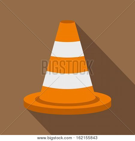 Traffic cone icon. Flat illustration of traffic cone vector icon for web isolated on coffee background