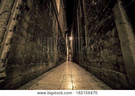 Old narrow passage way in the town of Split Croatia
