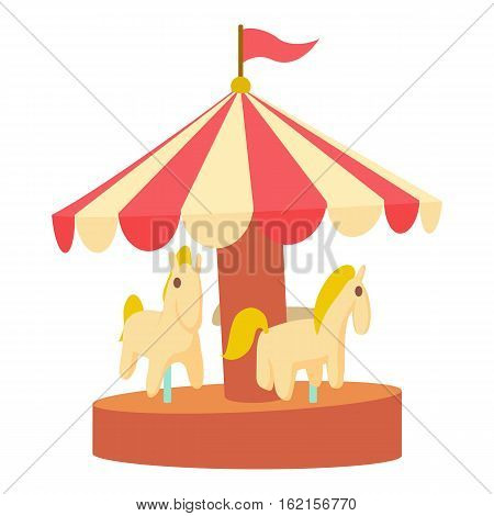 Carousel with horses icon. Cartoon illustration of carousel with horses vector icon for web design