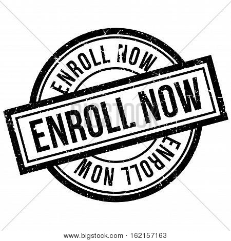 Enroll Now rubber stamp. Grunge design with dust scratches. Effects can be easily removed for a clean, crisp look. Color is easily changed.