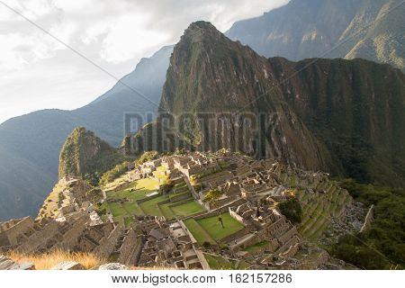 MACHU PICCHU PERU - SEPTEMBER 03: Machu Picchu Peruvian Historical Sanctuary since 1981 and UNESCO World Heritage Site from 1983 one of the New Seven Wonders of the World in Machu Picchu Peru on September 3rd 2016