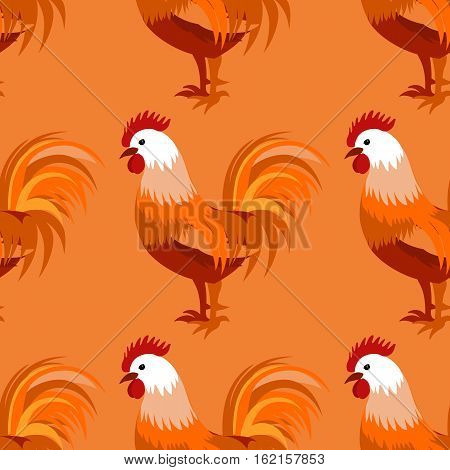 Seamless pattern with cock rooster - symbol of 2017 fire cock . May used for design cloth, web, wallpaper, wrapping. Vector illustration for New Year s design.
