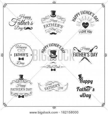 Happy fathers day set. Vector typography. Vintage lettering for greeting cards, banners, t-shirt design