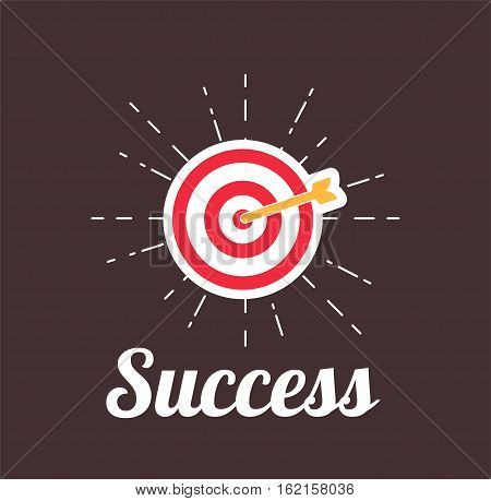 Arrow Hitting A Target. Succes motivation poster. Vector illustration