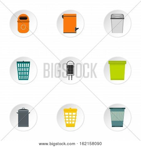 Trash can icons set. Flat illustration of 9 trash can vector icons for web