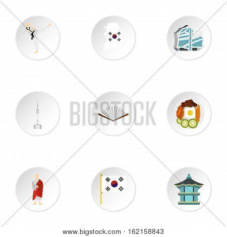 Tourism in South Korea icons set. Flat illustration of 9 tourism in South Korea vector icons for web