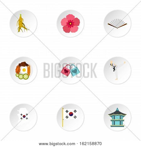 Country of South Korea icons set. Flat illustration of 9 country of South Korea vector icons for web