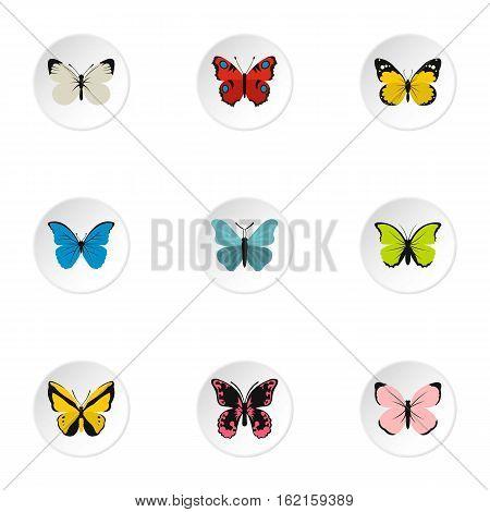 Creatures butterflies icons set. Flat illustration of 9 creatures butterflies vector icons for web