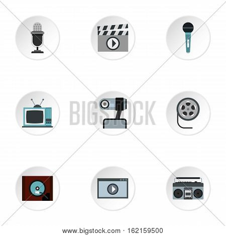 Broadcasting icons set. Flat illustration of 9 broadcasting vector icons for web