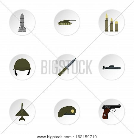 War icons set. Flat illustration of 9 war vector icons for web