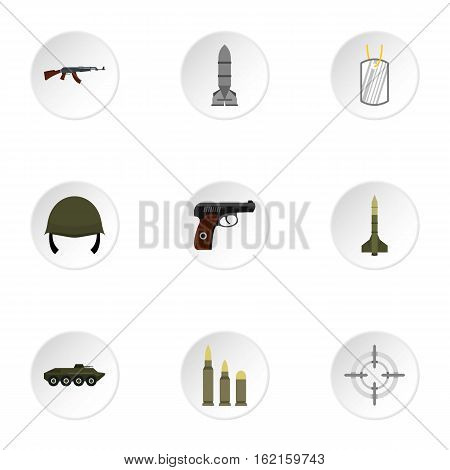 Equipment for war icons set. Flat illustration of 9 war vector icons for web