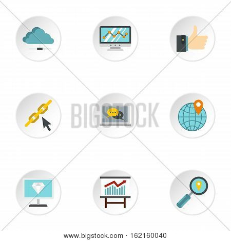 Optimization icons set. Flat illustration of 9 optimization vector icons for web