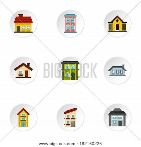 Residence icons set. Flat illustration of 9 residence vector icons for web