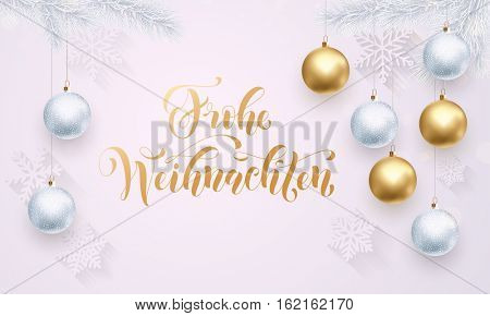 German Merry Christmas Frohe Weihnachten gold calligraphy. Golden decoration ornament with Christmas ball on white snowflake pattern. Premium luxury Christmas holiday greeting card