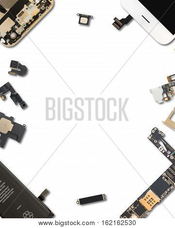 Flat Lay (Top view) of smartphone components isolate on white background with copy space and clipping path in 4:5 aspect ratio