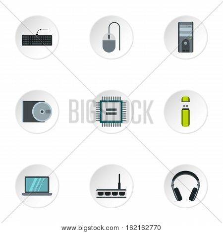 Computer data icons set. Flat illustration of 9 computer data vector icons for web