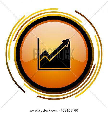 Graph chart sign vector icon. Modern design round orange button isolated on white square background for web and application designers in eps10.