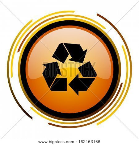 Recycling sign vector icon. Modern design round orange button isolated on white square background for web and application designers in eps10.